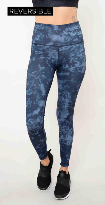 Wear it to Heart High Waist Reversible Leggings Indigo Tie Dye Blue Camo