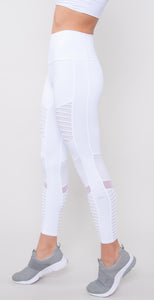7/8 High Waist Moto Legging White