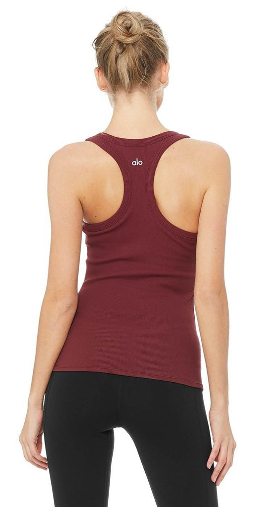 Alo Yoga Rib Support Tank Black Cherry