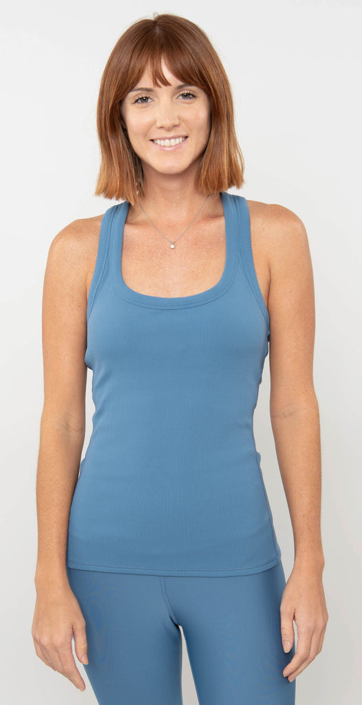 Alo Yoga Rib Support Tank Blue Jean