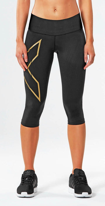 2XU MCS Bonded Mid-Rise Compression 3/4 Tight Black/Gold