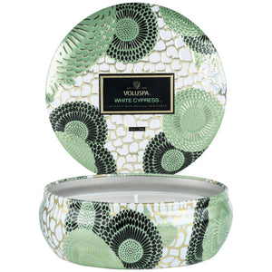 Voluspa White Cypress 3 Wick Tin Candle