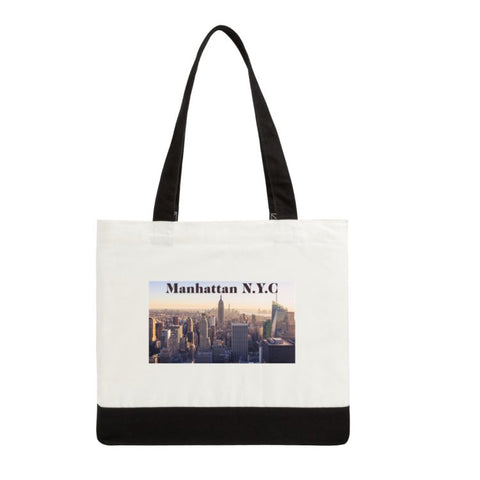 "Manhattan Classic Cotton Tote Bags Two-Tone Deluxe  19"" x 15"" x 6"" white/black:"