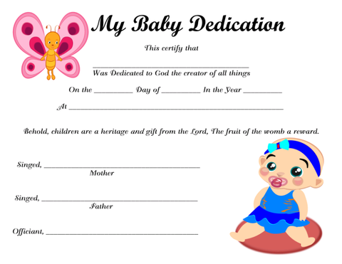 My Baby Dedication 6 Instant Digital Download