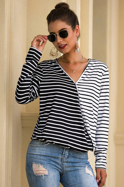 3100- Autumn Winter New Fashion V-neck Striped Long Sleeve Women Loose T-Shirt