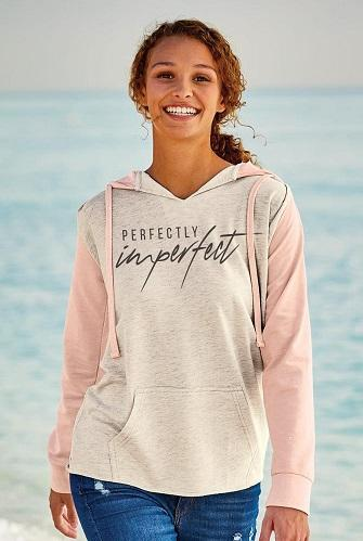 W20145- Perfectly Imperfect Women's French Terry Hooded Pullover