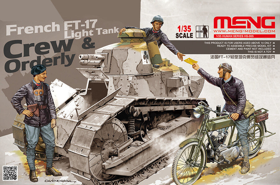 Meng Model 135 French Ft 17 Light Tank Crew And Orderly Panzer