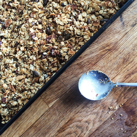 granola and spoon