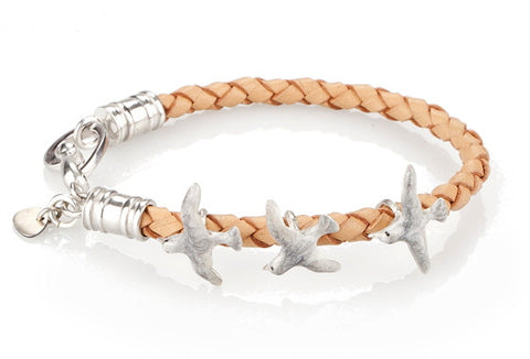 Seagull Istanbul Bracelet - 925 kt. Silver with Enamel and Leather