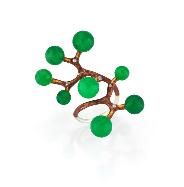 Constellation Collection Big Ring - 925 kt. Silver with  Jade