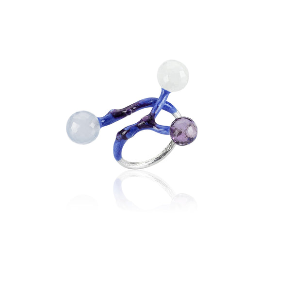 Small Ring - 925.Kt. Silver with Chalcedony and Amethyst