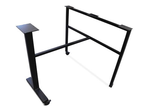 modLine A-base with Cross-bar and modLine T-Simple, both on casters for Peninsula Top
