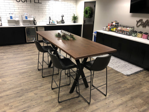 modLine X-CON Bar Height Bases with Crossbar Break Room