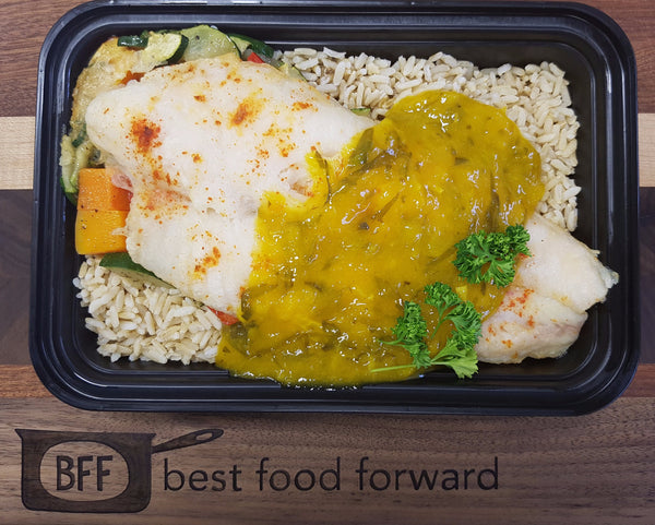 Best Body Mango Basa with Brown Rice and Roasted Vegetables