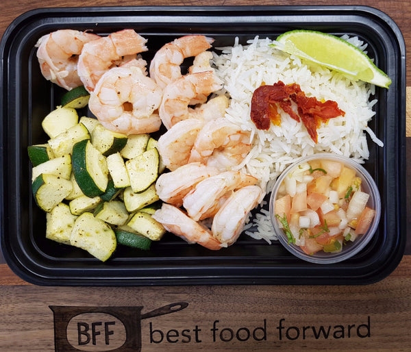 Best Body Lime Shrimp with Mango Salsa, Basmati Rice, Zucchini and Sundried Tomatoes