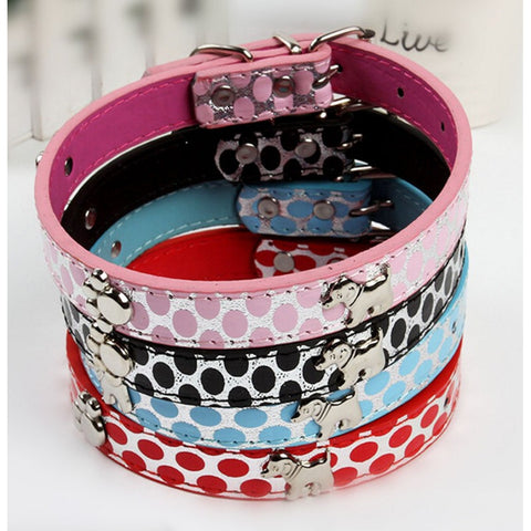 Leather Collar with Charms 17""