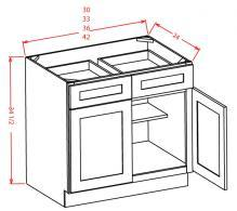 Base Cabinet two drawers, two doors