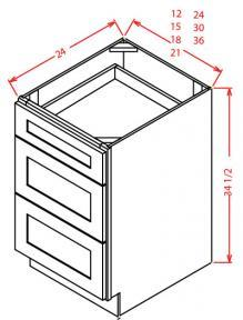 3 Drawer Base Cabinets