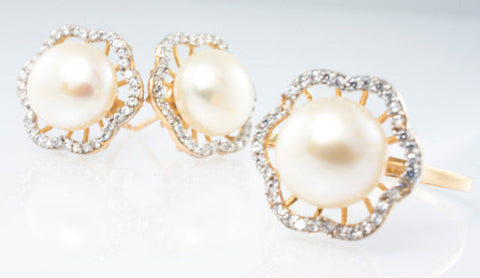 14 Kt Rose Gold C/Z Pearl Set