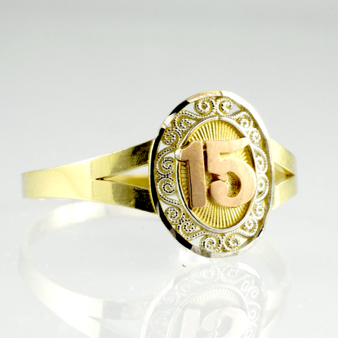14 Kt Gold Tricolor Quinces Ring