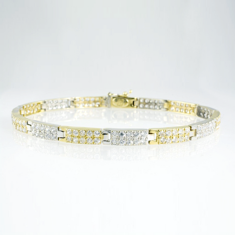 14 Kt Two-Tone Gold C/Z Ladies' Tennis Bracelet