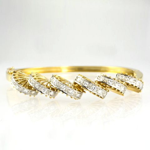 18 Kt Yellow Gold Diamond Ladies' Bangle