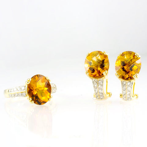 14 Kt Yellow Gold Citrine & Diamond Set