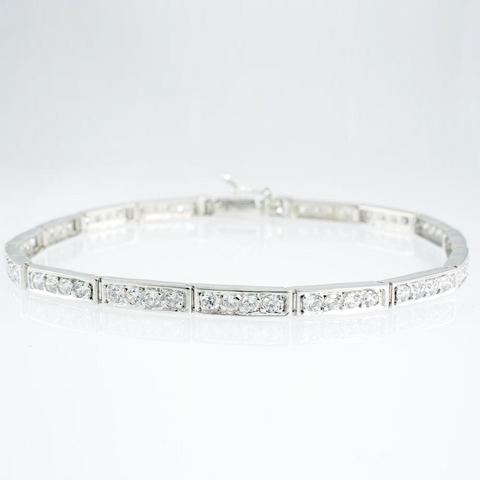 14 Kt White Gold C/Z Ladies' Tennis Bracelet