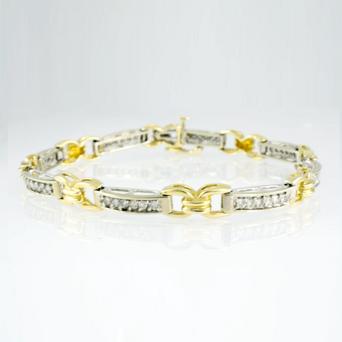 14 Kt Gold Two-Tone Diamond Ladies' Bracelet