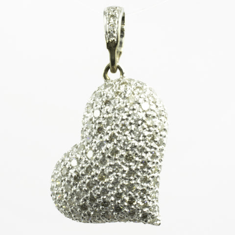 14 Kt White Gold Diamond Heart Charm