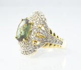 14 Kt Yellow Gold Turmaline & Diamond Ladies' Ring