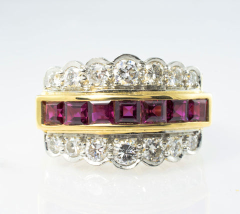 18 Kt Yellow Gold Ruby & Diamond Ladies' Ring