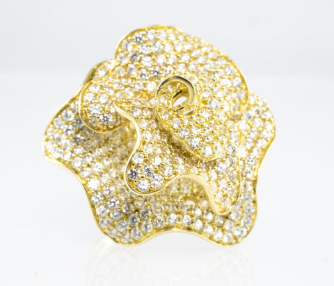 14 Kt Yellow Gold C/Z Flower Ladies' Ring