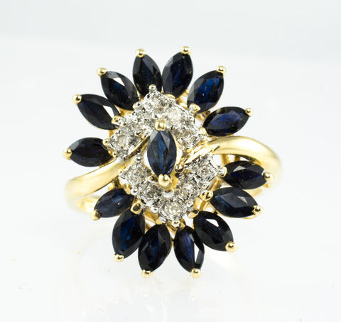 14 Kt Yellow Gold Sapphire & Diamond Ladies' Ring