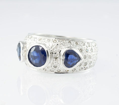 14 Kt White Gold Sapphire & Diamond Ladies' Ring