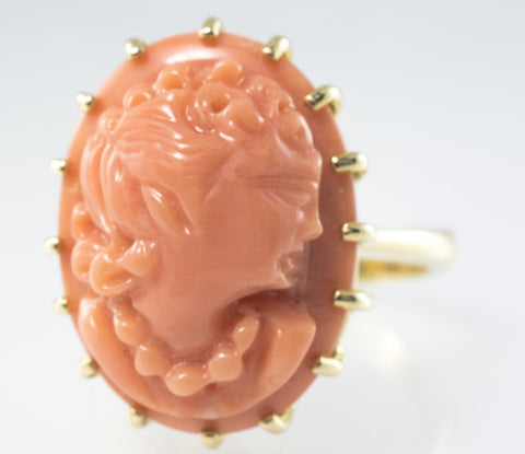 14 Kt Yellow Gold Antique Cameo Ladies' Ring