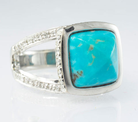 18Kt White Gold Turquoise & Diamond Ladies' Ring