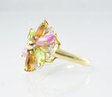 14 Kt Yellow Gold Flower Ladies' Diamond Ring
