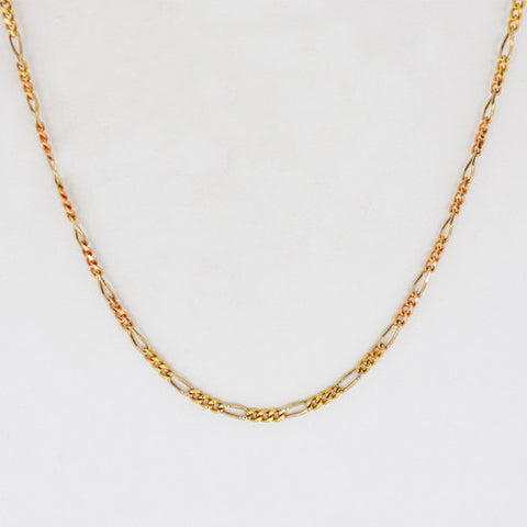 14 Kt Gold Ladies' Tri-Color Italian Figaro Chain