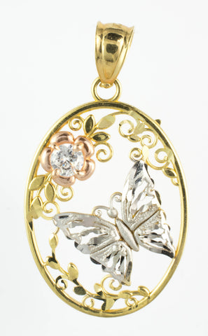 14 Kt Tricolor Gold C/Z Butterfly Charm