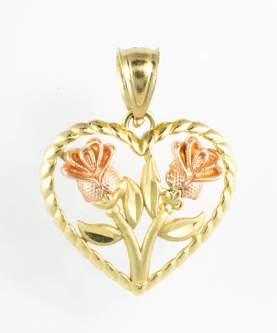 14 Kt Two Tone Gold Flower Heart Charm