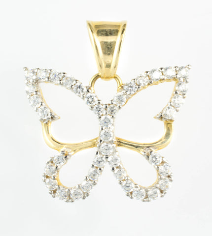 14 Kt Yellow Gold C/Z Butterfly Charm
