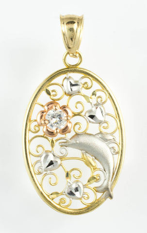 14 Kt Tricolor Gold C/Z Dolphin Charm