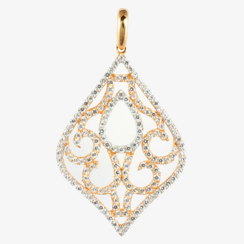 14 Kt Rose Gold Chandelier C/Z Charm