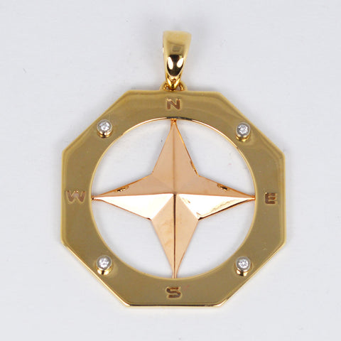 14 Kt Yellow Gold Compass Rose Charm