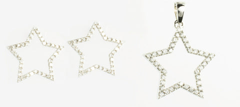 14 Kt White Gold Diamond Star 2 Piece Set
