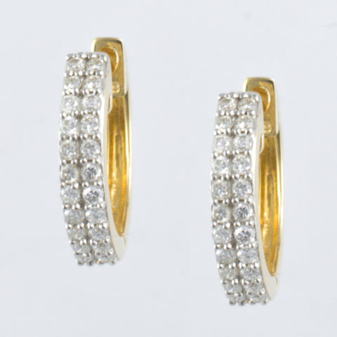 14 Kt Yellow Gold & Diamond Ladies' Hoop Earrings