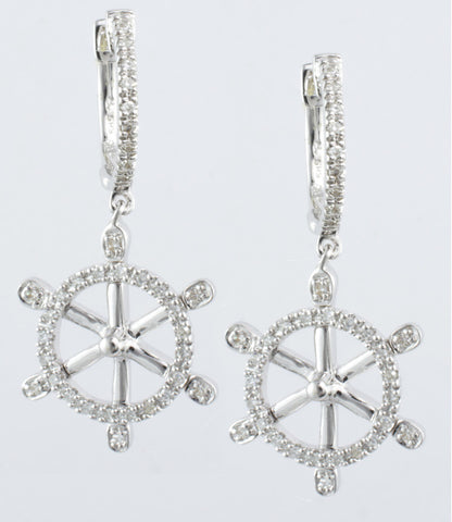 14 Kt White Diamond Boat Wheel Earrings