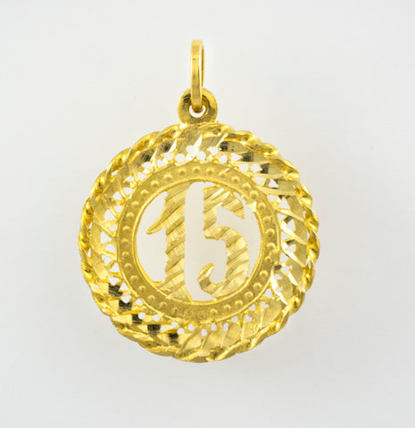"14 Kt Yellow Gold ""15"" Charm"