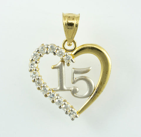 "14 Kt Two Tone Gold & C/Z ""15"" Heart Charm"